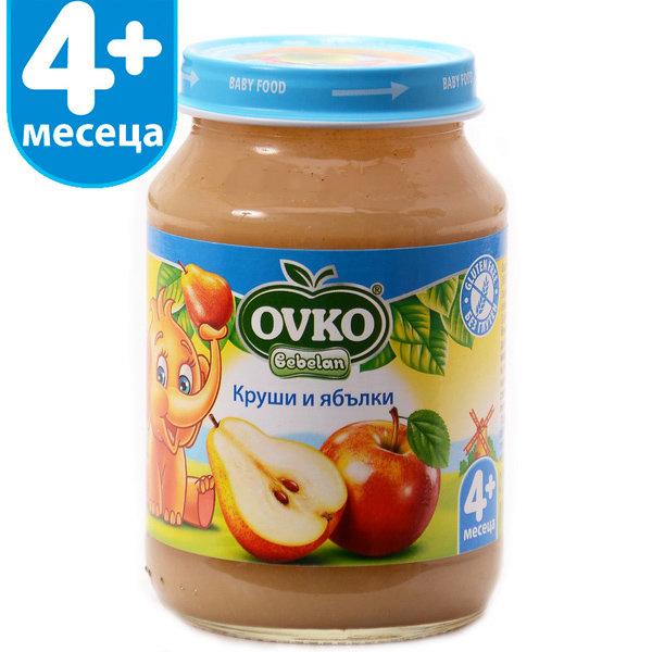 Овко Бебешко пюре /Круша и ябълка + вит.С/  4 м+ 190 гр. 1175/5185